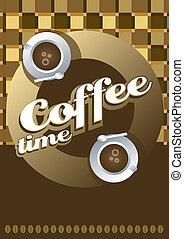 xícara café, pano, tabela