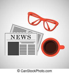 xícara café, papel, desenho, notícia, óculos