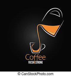 xícara café, pote, vidro, desenho, fundo