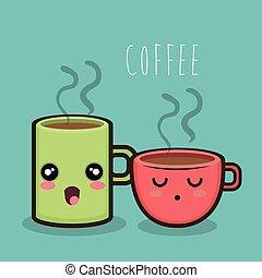 xícara café, quentes, assalte, desenho, caricatura