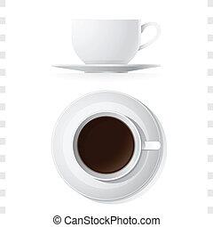 xícara café, topo, ícones, vista lateral