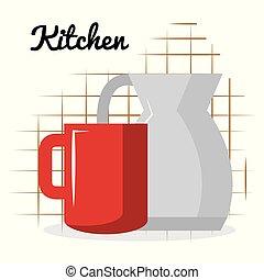 xícara café, utensílio, cozinha, bule, ícone