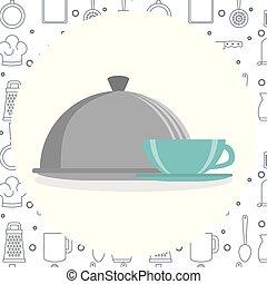 xícara café, utensílio, servidor, cozinha, bandeja, ícone