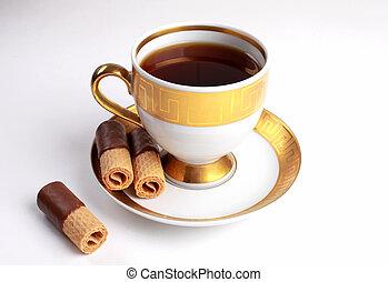 xícara chá, com, biscoitos