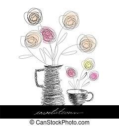 xícara chá, e, bule, com, flores