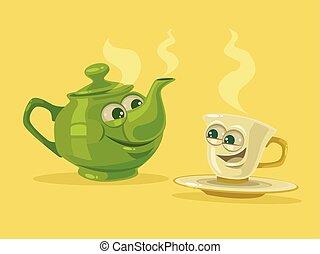 xícara chá, e, panela chá, characters., melhor, friends., vetorial, apartamento, caricatura, ilustração