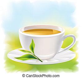xícara chá, e, um, natural, folha verde