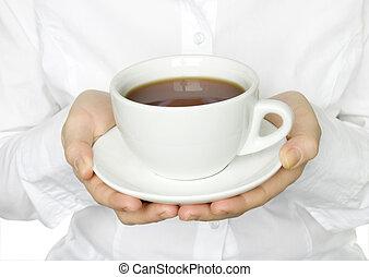 xícara chá, em, mãos