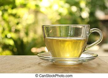 xícara chá, ligado, um, fundo borrado, de, nature.