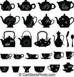 xícara chá, oriental, asiático, bule