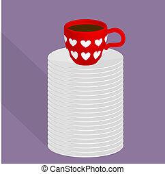 xícara vermelha, de, café, ligado, a, topo, de, a