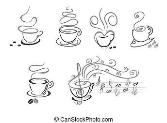 xícaras café, linha, art., vetorial