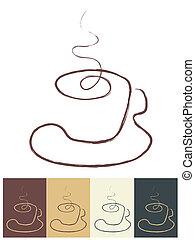 xícaras café, linha