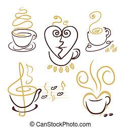 xícaras café, linhas