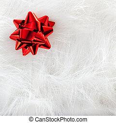xριστούγεννα , αριστερός κορδέλα , κοιτάζω , πάνω , άσπρο , γούνα