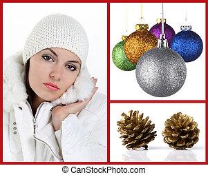 xριστούγεννα , γυναίκα , ηφαίστειος κώνος , πεύκο , αρχίδια