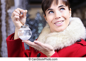 xριστούγεννα , γυναίκα , μπάλα , πάνω , παρουσιαστικό
