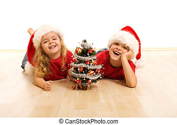 xριστούγεννα , ευτυχισμένος , μικρόκοσμος , ώρα , πάτωμα