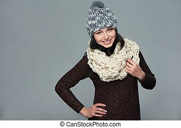 xριστούγεννα , κορίτσι , χειμώναs , concept.