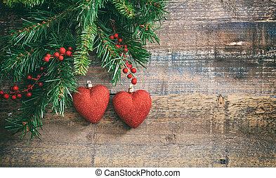 xριστούγεννα , κόκκινο , αγάπη , και , πράσινο , γιρλάντα ,...
