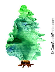 xριστούγεννα , νερομπογιά , δέντρο