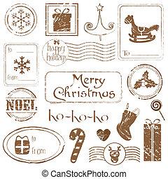 xριστούγεννα , σπουδαίος , θέτω , grunge , - , συλλογή , σχεδιάζω , αποτύπωμα , βιβλίο απορριμμάτων , πρόσκληση , δικό σου
