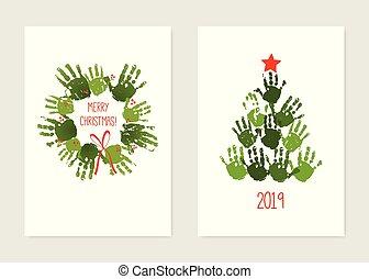 xριστούγεννα , star., νερομπογιά , set., στεφάνι , δέντρο , απομονωμένος , εικόνα , handprint , art., κόκκινο , μικροβιοφορέας , bow., τυπώνω , ακρυλικός , χέρι , παιδιά , κάρτα , white.