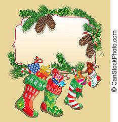 xママ, 家族, スペースフレーム, 年, text., カード, stockings., 新しい, クリスマス, 空