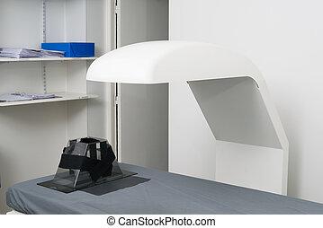 x光機器, 在上方, 床, 在, 門診部