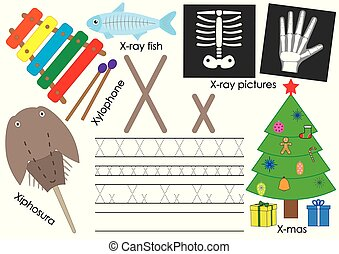 x., ללמוד, אלפבית, practice., לכתוב, וקטור, מכתב, אנגלית, children., חינוך, illustration.