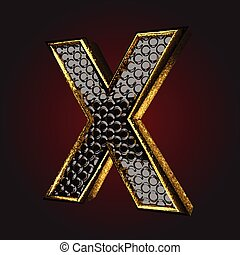 *x*, שחור, מכתב, זהב