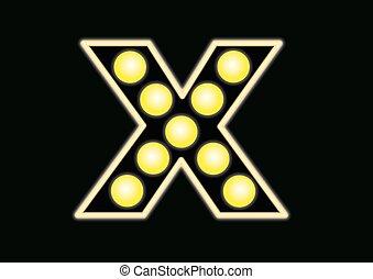 x, ネオン 印