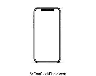 x, ブランク, iphone, 白い背景, 色, mockup, スクリーン