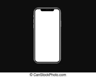 x, ブランク, iphone, 黒, 白い背景, 色, mockup, スクリーン