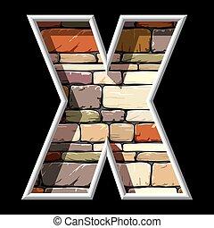 x, 石の文字