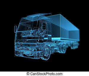 x 線, 青, トラック, (3d, transparent)