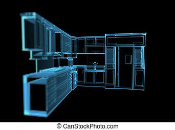 x 線, 青, 台所, (3d, transparent)