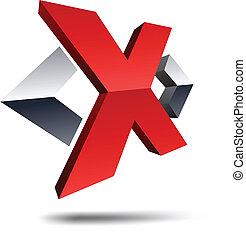"X 3d letter. - .Illustration of ""X"" 3d design element."