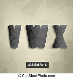 x., alfabeto, triangolare, scuro, w, v