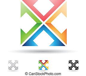x, astratto, lettera, icona