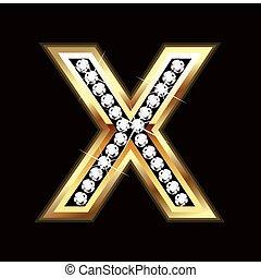 x, bling, lettera