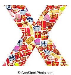 x, brief, -, alfabet, gemaakt, van, giftboxes