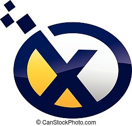 x, carta, logotipo