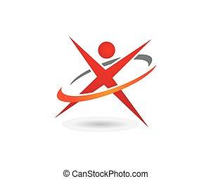 x, carta, plantilla, logotipo