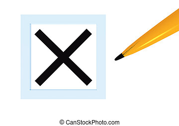 X Checked Box 3d concept icon