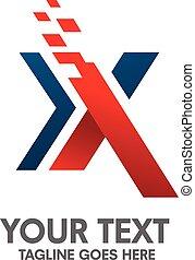 x, concepto, carta, logotipo