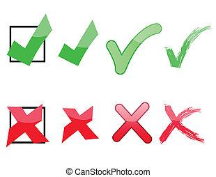 x, controleren, tekens