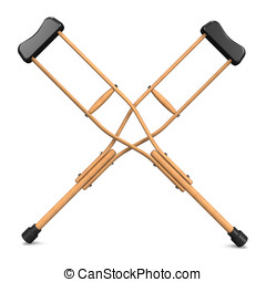 X-Crutch.3D render illustration. Isolated on White.