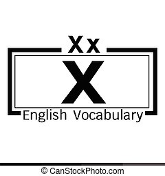 X english word vocabulary illustration design