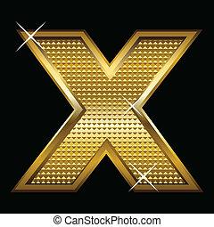 x, fonte, dourado, letra, tipo